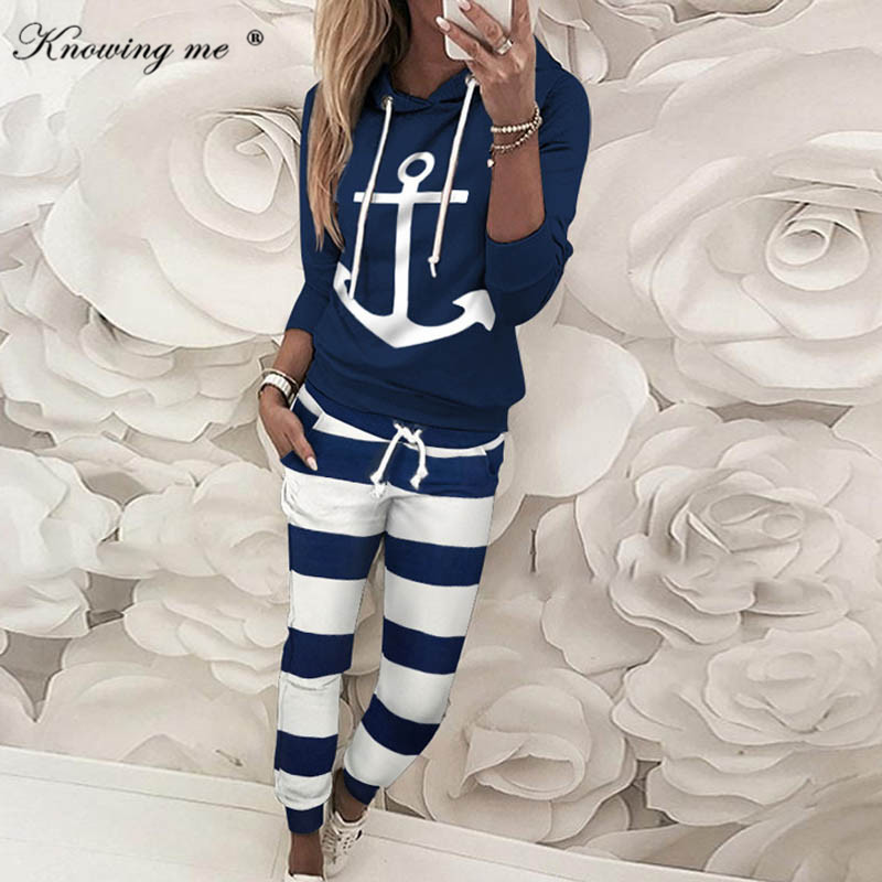 2020 Spring Drawstring Colorblock Hooded Tracksuits Set Women Casual Long Sleeve Slinky Pant Sport Sets 2 Piece Outfits Sets