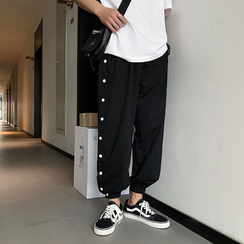 Cotton Sweatpants Men's Fashion Solid Color Casual Joggers Pants Men Streetwear Wild Hip-hop Loose Straight Trousers Mens M-2XL