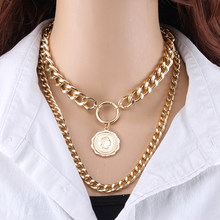 Vintage Multi Layered Gold Color Portrait Chain Chokers Necklace for Women Fashion Coin Thick Chain Pendant Necklace Jewelry