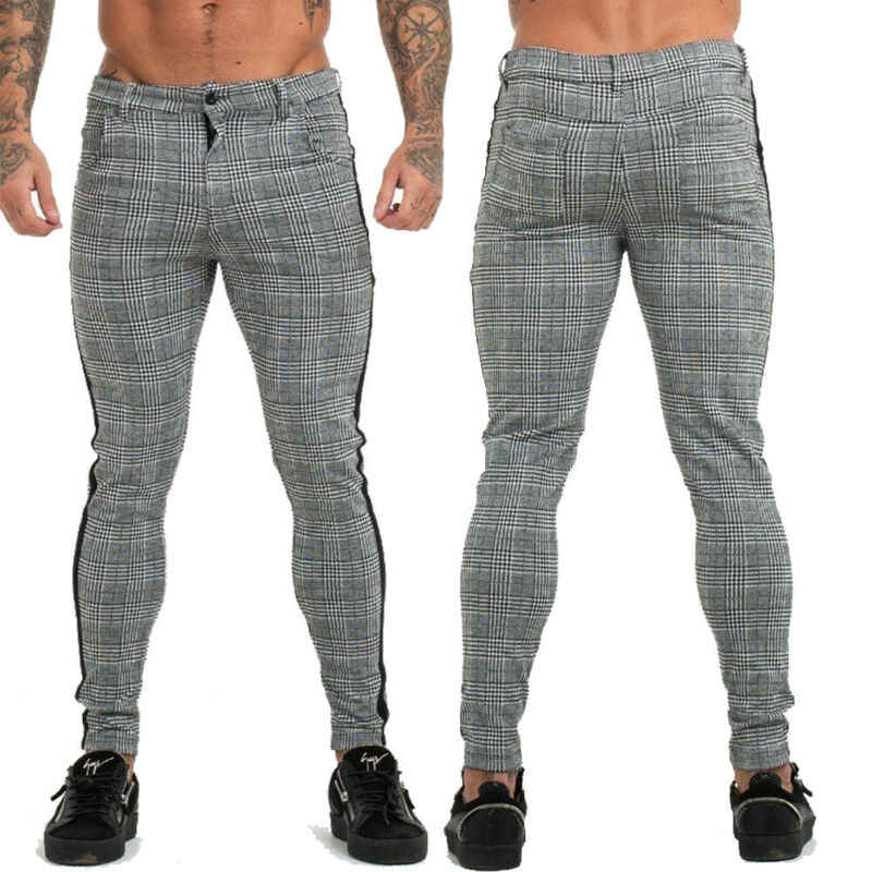 カジュアル格子縞のスーツのズボン春ブランド新ビジネスフォーマル男性パンツ男性スリムフィット 2019 男性服ズボン男性