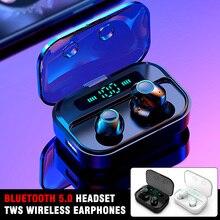 1 Pair Bluetooth 5.0 Headset TWS Wireless Earphones Mini Handsfree Earbuds Stereo Cordless Headset Headphones