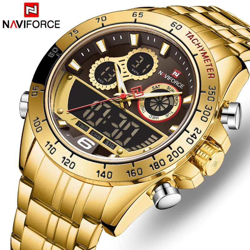 NAVIFORCE Топ бренд класса люкс мужские Кварцевые Золотые часы мужские спортивные водонепроницаемые мужские наручные часы с хронографом мужск...