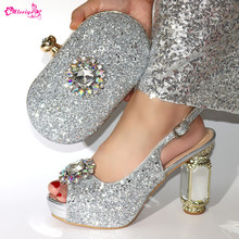 Fashion Italian Rhinestone Woman Shoes And Purse Set Summer