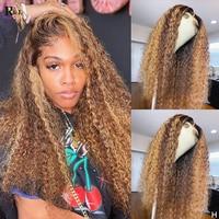 RULINDA Highlight 13X4 Lockige Spitze Front Menschliches Haar Perücken Mit Baby Haar Ombre Farbe Brasilianische Remy Menschliches Haar Spitze Perücken für Frauen
