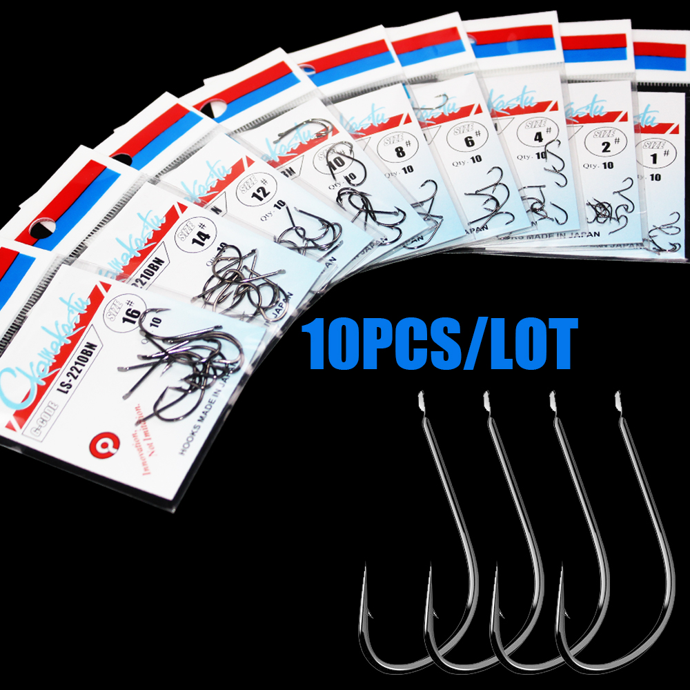 10pcs/lot  Black Maruseigo Hook 1#-18#  No Ring Carp Fishing Hooks Gamakatsu Seawater And Fresh Water Hooks