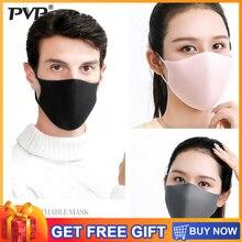 PVP 3 قطعة الأسود طبقة مزدوجة الإسفنج الفم قناع مكافحة الضباب الغبار قابل للغسل قابلة لإعادة الاستخدام طبقة مزدوجة الغبار الفم دثر الرياح برهان قناع