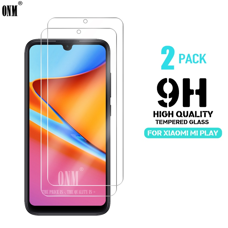 2Pcs Tempered Glass For Xiaomi Mi Play Glass Screen Protector 2.5D 9H Premium Tempered Glass For Xiaomi Mi Play Protective Film