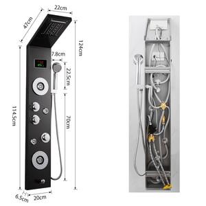 Image 5 - Черная душевая панель, 4 функции, водопад, массажный набор для душа с дождевой насадкой