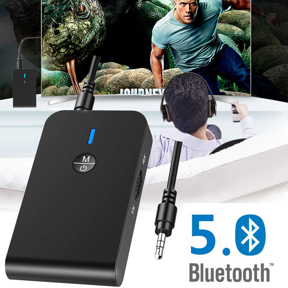Bluetooth Receiver Transmitter V5.0 Stereo Car Audio 2 In 1 AUX Wireless Audio USB Receiver Adapter For TV PC Headphone Speaker