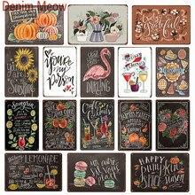 Nuevo menú de cóctel de frutas, signos de Metal Vintage, pizarra para pintar a mano, cartel de los granjeros, feliz calabaza, platos decorativos WY70
