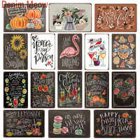 New Fruits Cocktail Menu Vintage Metal Signs Hand-Painting Blackboard Poster Farmers Market Happy Pumpkin Decorative Plates WY70