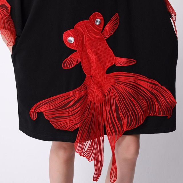 [EAM] 2021 New Spring  Summer Wrist Sleeve O Collar Fish Embroidery Pullover Women Fashion Tide Loose Knee-length Dress OA868 6
