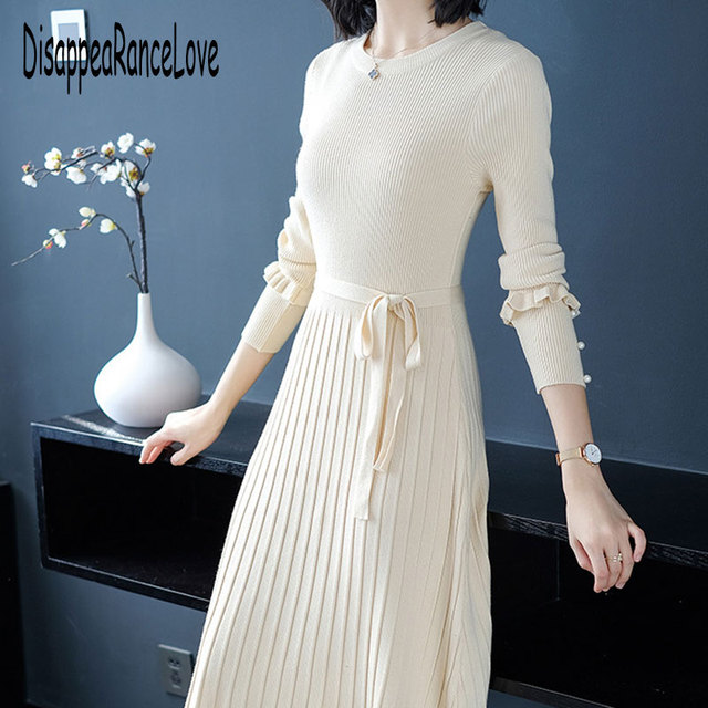 Long Knitted Dress Warm Elegant Long Sleeves Solid Pullovers Dress Plus Size Elastic Winter Thick Sweater Dress