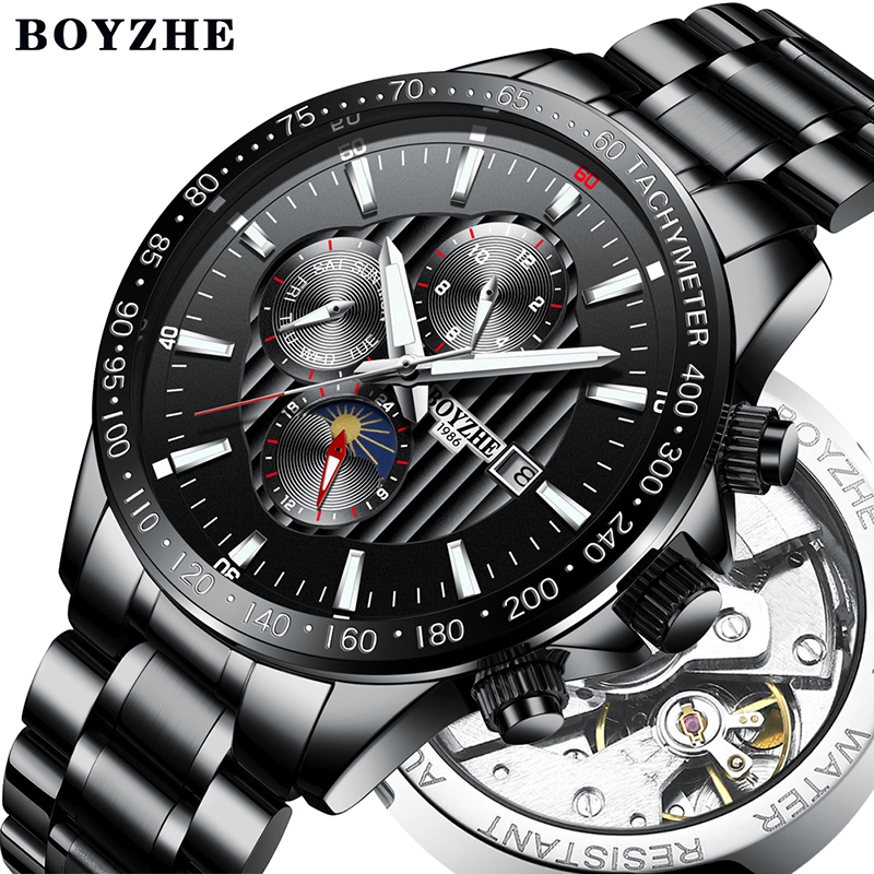 Automatic Mechanical Watches Mens Stainless Steel Moon Phase Military Week Display Watches Mens Relogio Masculino BOYZHE