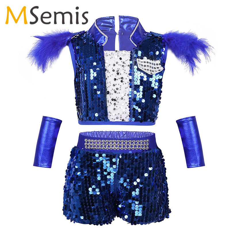 >Children Jazz Dance Costume for Kids Girls Hip-hop Crop Top with Shorts <font><b>Outfit</b></font> Shiny Sequins Boys Jazz Crop Top for Performance