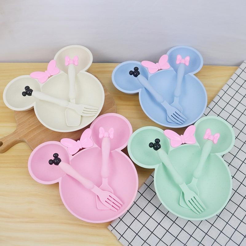 Imebaby Wheat Straw Children's Dishes Bowl Spoon Three Piece Set Cartoon Creative Kindergarten Baby Plate Tableware