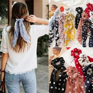 New Women Ribbon Flower Point Printed Scrunchies Elastic Fashion Hair Bands Headwear Girls Elegant Hair Accessories Hair Gum(China)
