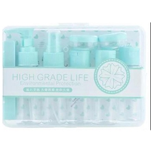 12 in 1 Portable Travel Plastic Empty Bottle Set with Case Simple Cosmetic Sub-Bottle Combo for Shampoo Conditioner Lotion Cream