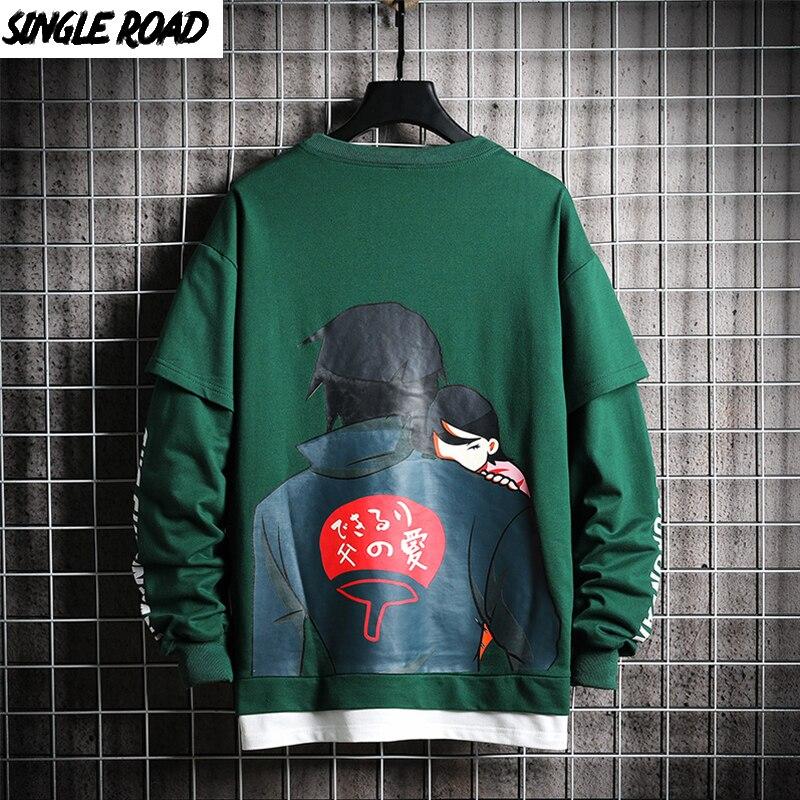 SingleRoad Crewneck Sweatshirt Men 2019 Anime Print Harajuku Japanese Streetwear Naruto Clothes Green Hoodie Sweatshirts Male