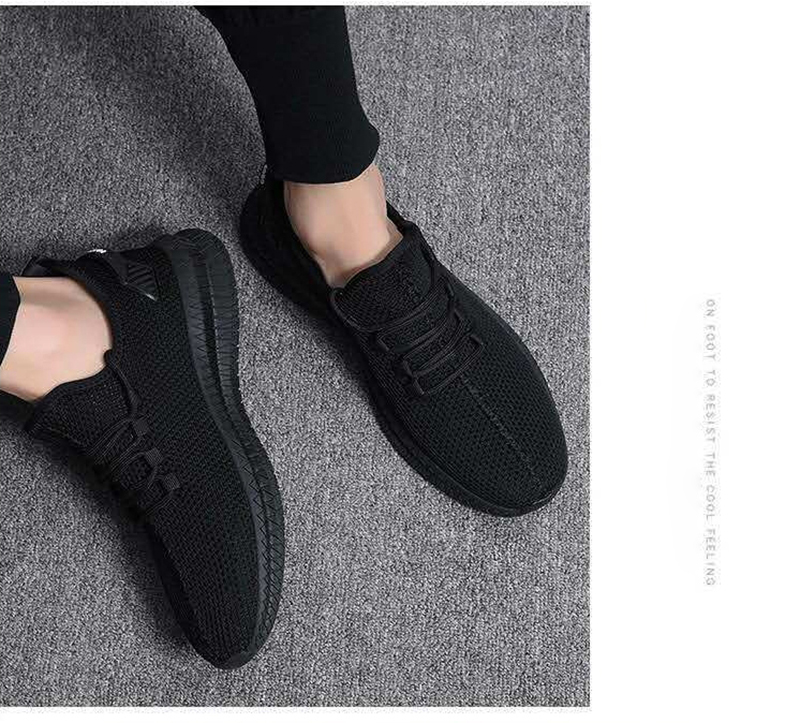 He23ae55a73fa40e7b3ad5038305650fbO - Men Sneakers Black Mesh Breathable Running Sport Shoes Male Lace Up Non-slip Men Low Athletic Sneakers Casual Men Shoes