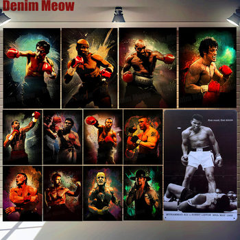 Boxing Champion Plaque Metal Tin Sign Home Bar Pub Cafe Club Wall Decor Boxing Fans Iron Plates Fighting Match Art Poster N340