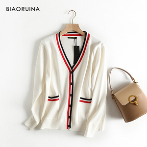 Image 2 - BIAORUINA Womens Preppy Style Hit Color V neck Knitted Cardigans Female Single Breasted Fashion Loose Korean Style Sweater
