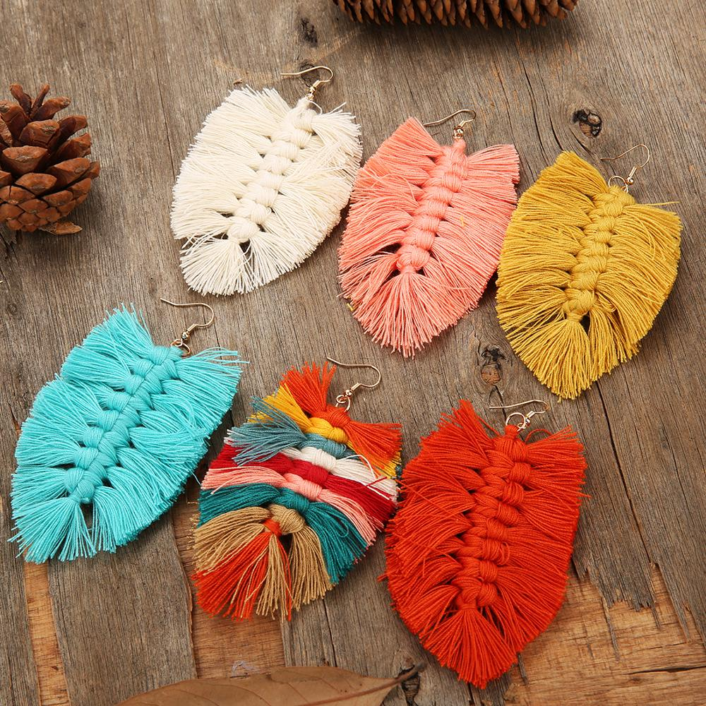 2020 New Design Bohemian Style Leaf Shape Tassel Earrings For Women Fashion Fishbone Boho Female Dangle Drop Earrings Wholesale
