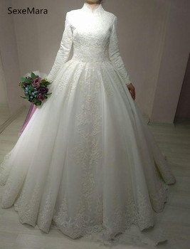 Arabic Bridal Gown Long Sleeves High Neck Ball Gown Lace Muslim Wedding Dress Custom Made