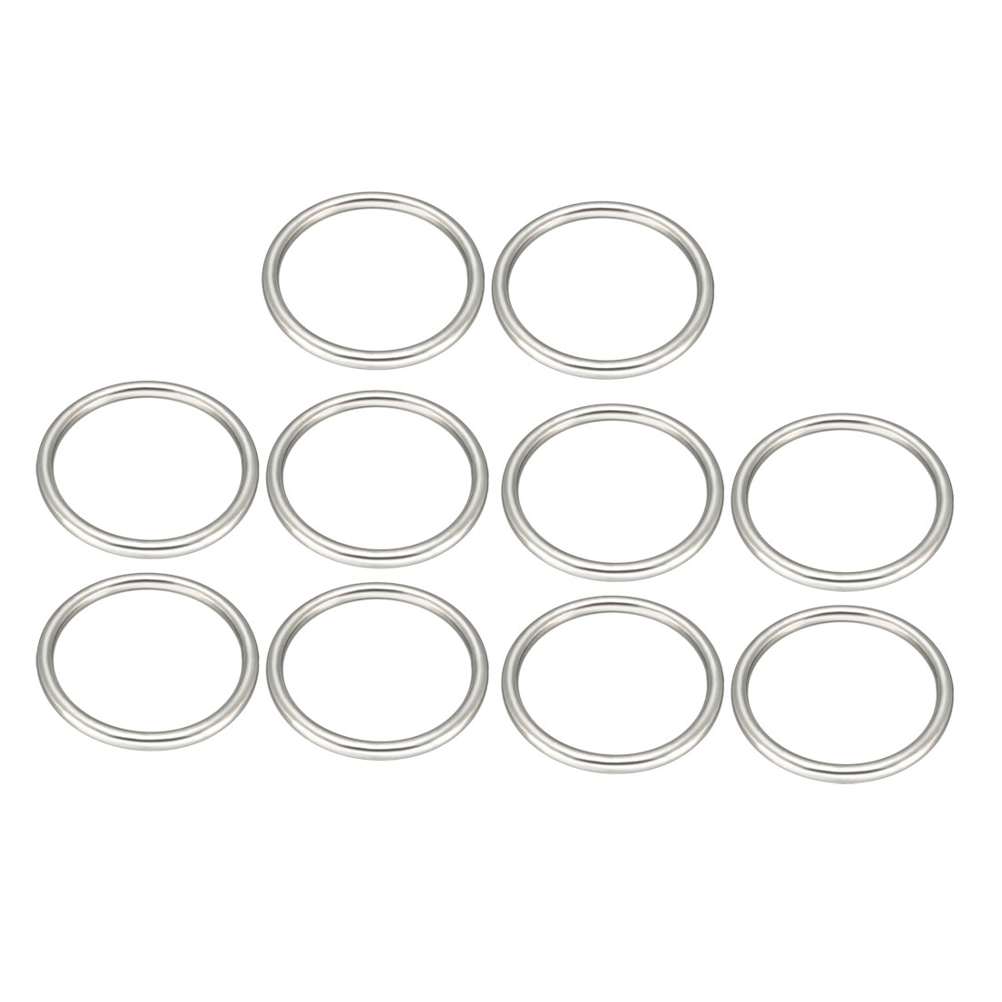Uxcell 10 Pcs Multi-Purpose Metal O Ring Buckle Welded 60mm X 50mm X 5mm For Hardware Bags Ring Hand DIY Accessories