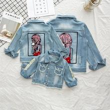 Dziewczynek kurtka 2020 jesień kurtka wiosenna dla dziewczynek płaszcz dzieci dżinsy odzież wierzchnia kurtka wiatrówka dla dziewczynek dzieci tkaniny tanie tanio KEAIYOUHUO Moda COTTON Poliester Stałe REGULAR Z kapturem Kurtki płaszcze Pełna Pasuje prawda na wymiar weź swój normalny rozmiar