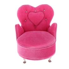 1/12 escala miniatura casa de muñecas franela sofá sillón Mini muñecas muebles sofá, Rosa bisutería con forma de corazón caja de almacenamiento
