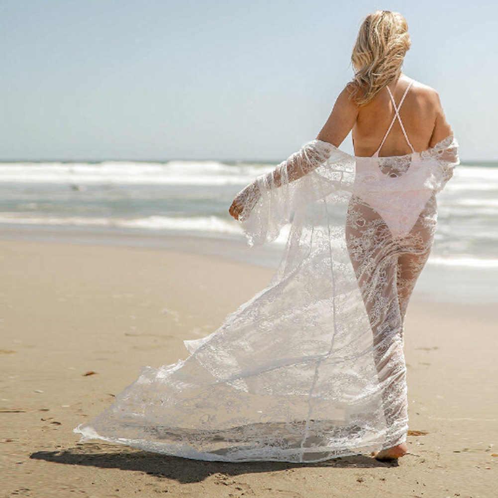 Donne Croche Del Merletto Del Bikini Cover Up Costumi Da Bagno Spiaggia Maxi Sarong Kimono Caftano Dress
