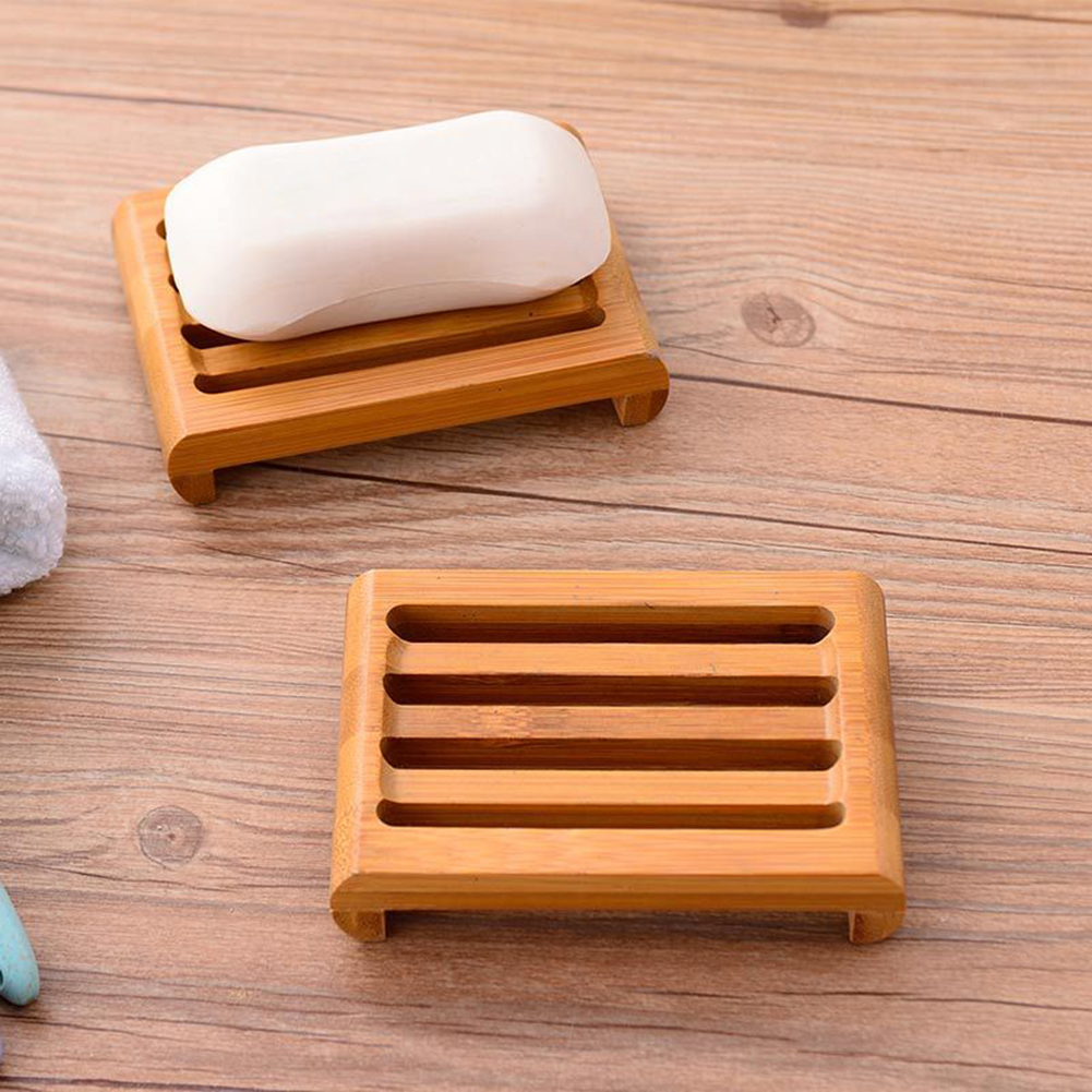 Biodegradable Bamboo Soap Dish Holder Rack Tray Plate Natural Wood Bathroom Soap Stoarage Rack Bath Soap Laundry Soap Dishes