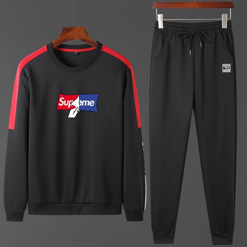 2020 Sports Set Men's Spring And Autumn Hoodie Sweatpants Crew Neck Coat Trend Casual Versatile Sports Clothing Two-Piece Set
