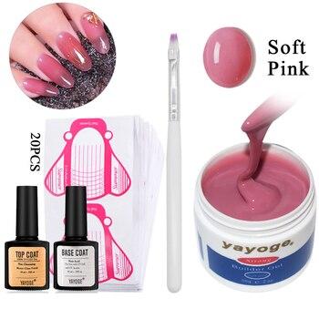 YAYOGE-esmalte de Gel UV para extensiones de uñas, Gel UV de camuflaje para extensión de uñas, capa superior para Base, 55g y 14g