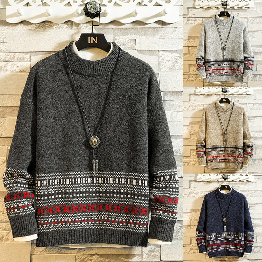 New Style Sweater For Men In Autumn And Winter Fashion Durable Breathable Printed Casual Sweater O-Neck Collar Sweater