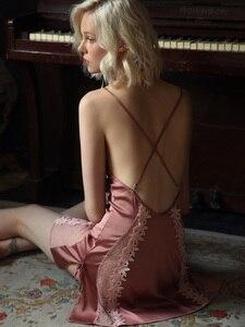 Image 4 - Пикантная Пижама, кружевная Домашняя одежда с цветами, Женская Летняя шелковая ночная рубашка на бретельках с красивой спинкой