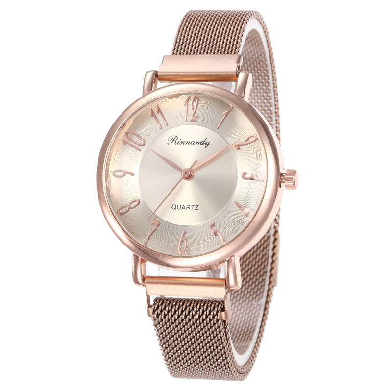 2020 Gold Elegant Ladies Quartz Wristwatches Women Fashion Luxury Diamond Watches Magnetic Mesh Strap Big Number Female Watch