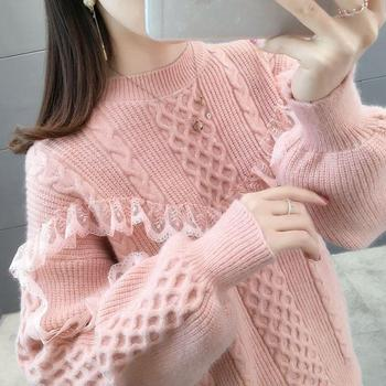 Sweater female loose wear short round neck lace lantern sleeve pullover bottoming shirt female autumn and winter New 2020 lace applique lantern sleeve cold shoulder top
