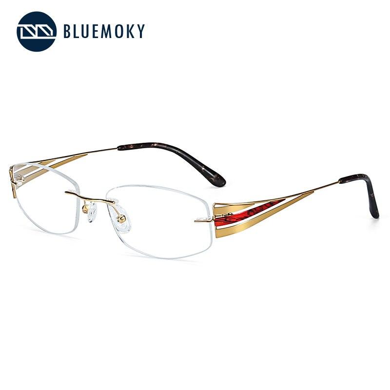 BLUEMOKY Titanium Rimless Glasses Frames Women 2019 Ultralight Eyeglasses Myopia Flexible Optical Glasses Frames Eyewear FT0029