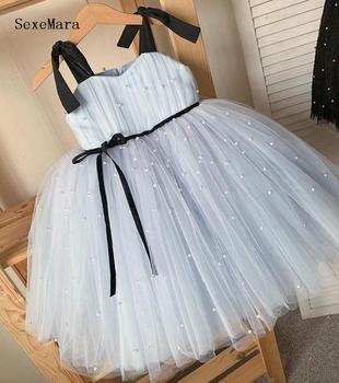 Nowe prawdziwe zdjęcie sukienki dla dziewczynek Sash suknie balowe perły kwiat dziewczyny księżniczka eleganckie suknie ślubne suknie na konkurs piękności tanie i dobre opinie SexeMara Kolan Suknia balowa O-neck Bez rękawów Tulle jack20080503 Flower girl dresses REGULAR