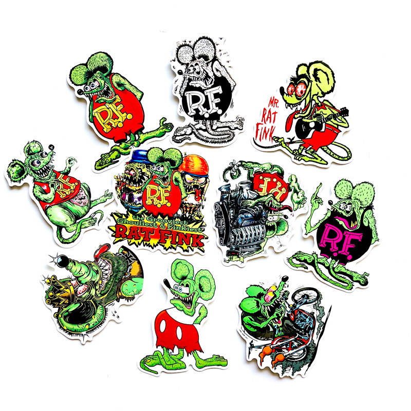 10pcs Rat Fink Sticker PVC Car Sticker Deca For Skateboard Suitcase Refrigerator Motorcycle Decal