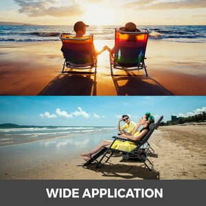 Image 5 - VEVOR Reclining Folding Camp Chair with Footrest Portable Nap Chair for Outdoor Beach Sun Camping Fishing Lounge Chair