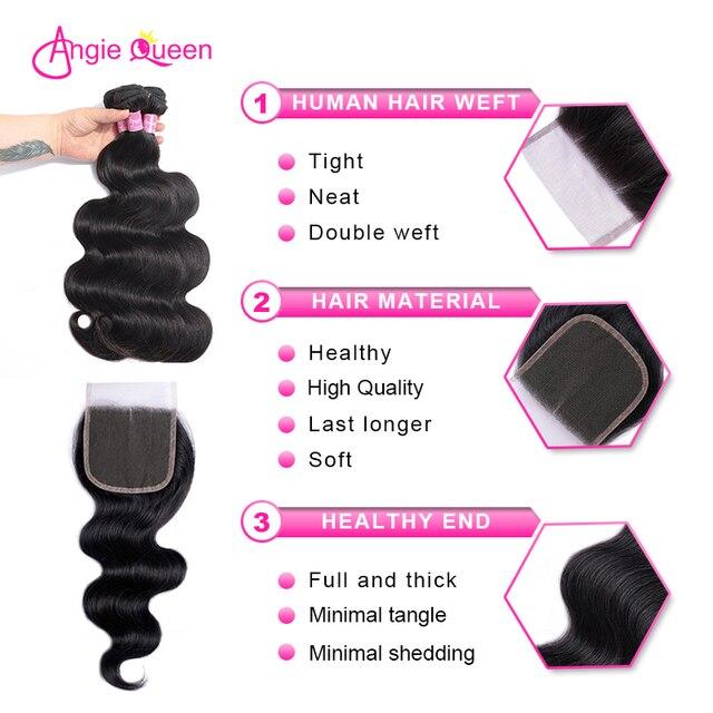 Onda do corpo pacotes com fecho malaio pacotes com clsoure não remy cabelo 3 pacotes com fechamento costurar na parte média 24 26 polegada