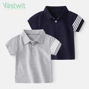 Chłopięce koszulki Polo z krótkim rękawem dla dzieci koszula dla chłopców skręcić w dół kołnierz topy koszulki dla niemowląt chłopcy dziewczęta koszule ubrania dla dzieci 1-6 lat tanie i dobre opinie Vastwit COTTON CN (pochodzenie) Lato REGULAR 13-24m 25-36m 4-6y Europejskich i amerykańskich style Wykładany kołnierzyk