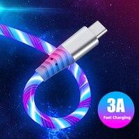 Cable de carga brillante para teléfono, cable de luz led de flujo para micro usb tipo c, Cargador rápido para huawei, xiaomi, Samsung, 1m