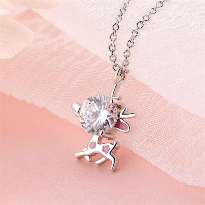 New User Bonus 2019 New Arrival Cute Funny Elk Pendant Necklaces For Women Ladies Pink Crystal Link Chain Christmas Gift P241 image