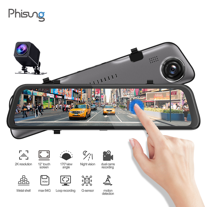 "Phisung Backup Camera 11.66"" Mirror Dash Cam 2K 2560P+1080P Front and Rear View Dual Lens Night Vision GPS log track dvrs"