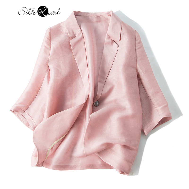 Silviye Silk Solid Color Small Suit Jacket Female Silk Fashion Thin Western Style Casual Suit Autumn 2020 Fashion New Style
