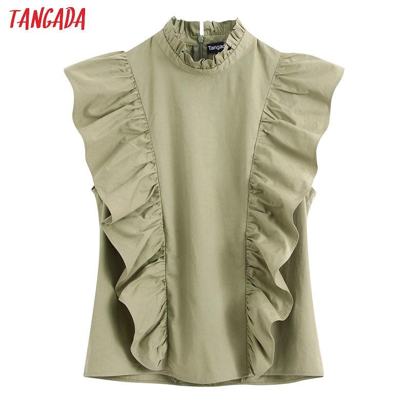Tangada Women Ruffle Green Summer Shirts Sleeveless Solid Elegant Office Ladies Work Wear Blouses BE216